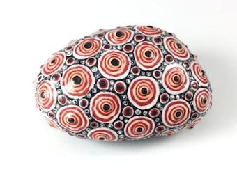 Bullseye Painted Rock, Modern Nature Art, Painted Stone, Rock Art, Unique Gift, Paperweight, Desk Ornament,