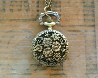 Flower Pocket Watch Necklace, Watch Really Works, Small Brass Crown, Feminine, Steampunk, Timepiece Necklace, Many other styles available!