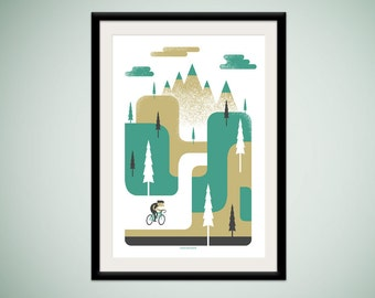Ride to the Hills - limited edition silkscreen art print - a happy cyclist enjoys his morning ride through a bold, geometric landscape