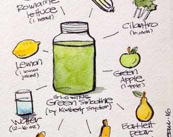 """Glowing Green Smoothie (by Kimberly Snyder) 5"""" x 7"""" print of watercolor I created"""