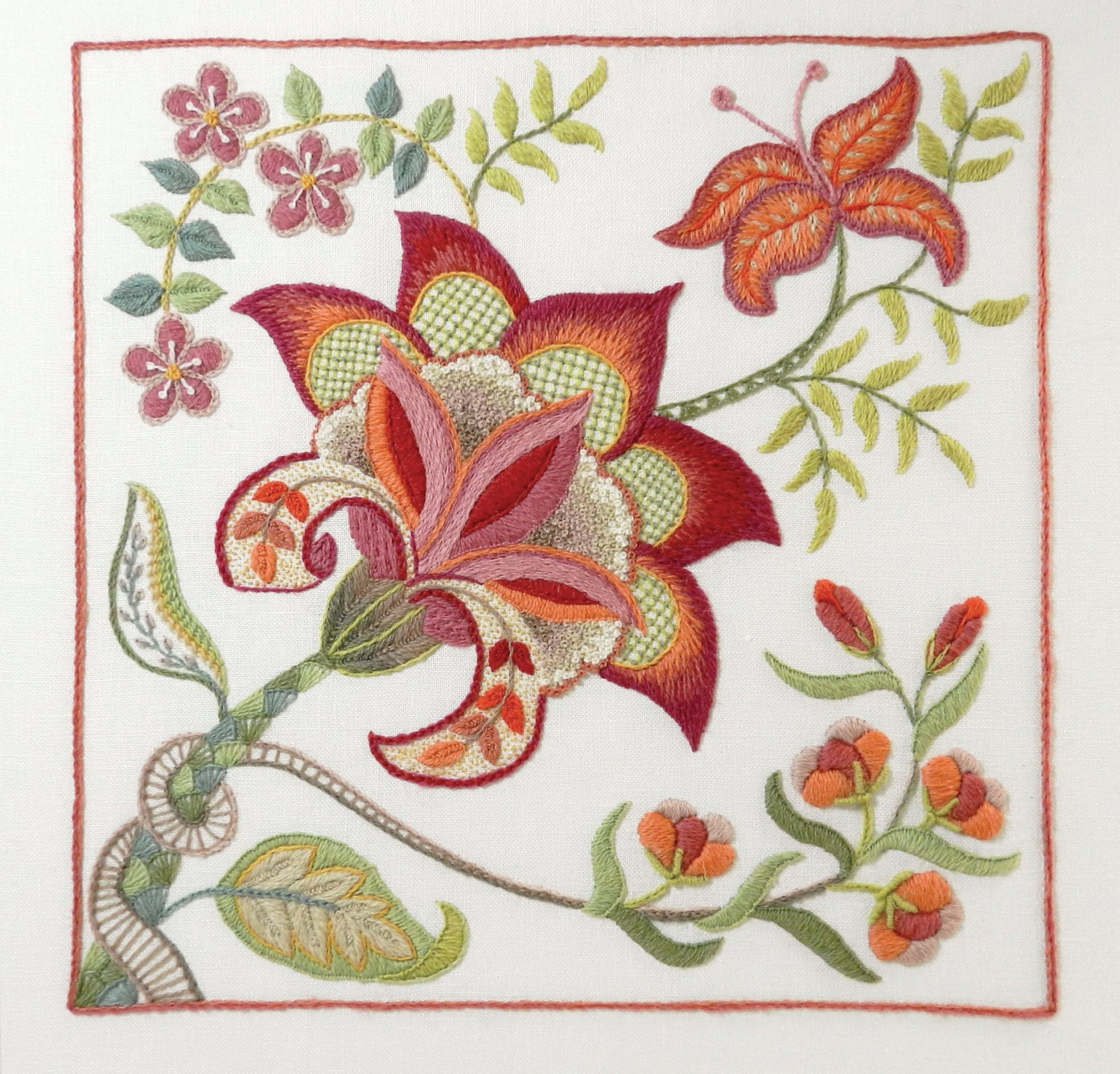 Crewel Embroidery Kit SCARLET GLORY