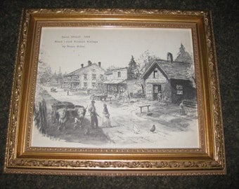 "BOOKPLATE 1800'S ""Queen Street 1850 Black Creek Pioneer Village By Bruce Milne"" Black and White Illustration Framed 10 1/2"" x 12 1/2"""