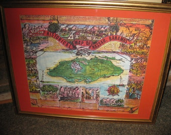 """HISTORICAL MAP OF Nassau, Bahamas Drawn By Joanne Kelly Copyright 1970 By Angelo's Goldtone Frame 21 1/2"""" x 17 1/2"""" Red Matt"""