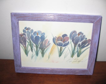 """FLORAL PRINT Artists Proof Grant Dolge Purple Crocuses In Lilac Wood Frame 6"""" x 8"""" Signed By Artist"""