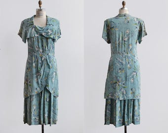 RESERVED MARIANNE In the Breeze Dress / 1940s rayon dress / vintage blue floral dress