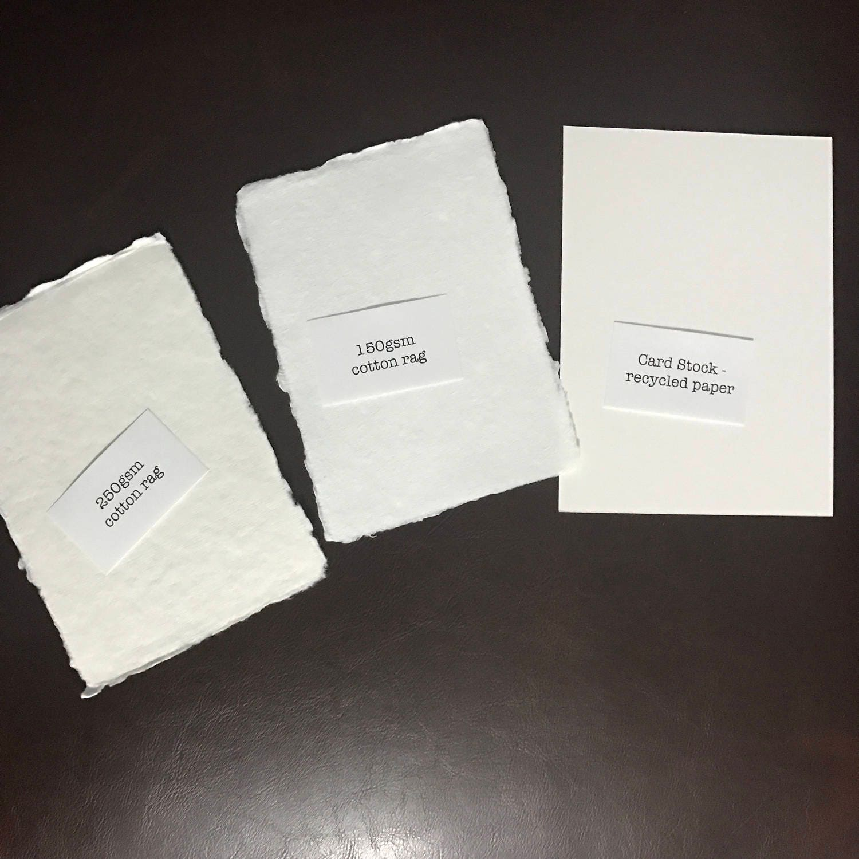 2 5 x 3 5 handmade paper place cards cotton paper letterpress