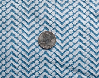 Vintage blue and white knit fabric in chevron pattern