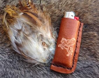 pegasus lighter case, handmade leather lighter case