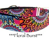 Martingale Dog Collar, Dog Collar, Adjustable Dog Collar, Buckle Dog Collar, Bright Pink, Modern, Geometric - Floral Burst