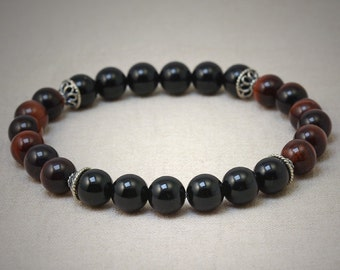 Red tigereye, black onyx and Bali sterling silver beadcaps stretch bracelet
