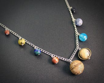 Gemstone Solar System Necklace - Silver