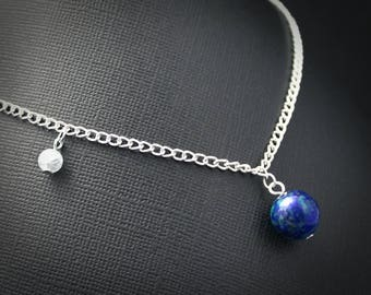 Gemstone Earth and Moon Necklace - Silver