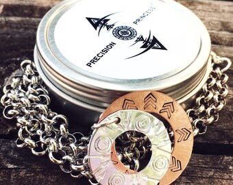 Archery Arrow Hand Stamped Target Necklace - Bow Hunters