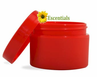 Red Jar with Red Smooth Cap - 10 Pack