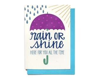 Sympathy Card - Rain or Shine Card - Here For You Card - Sorry Card - Thinking of You Card - Get Well Card - SY3