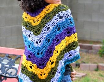 Mood Swing Virus Shawl/ Boho Combination Shawl Scarf/ Mood swing shawl scarf/ Crochet Shawl Scarf/ Crochet Wrap Scarf/ Crochet shawl