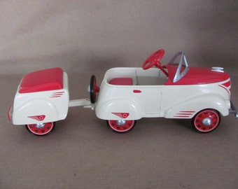 Vintage Hallmark Kiddie Car Classics, 1940 Don Palmieri Custom Roadster with Trailer Pedal Car Collectible, Die Cast Metal Model
