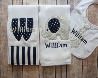 Monogrammed Baby Boy Burp Cloth Set, Personalized Baby Boy Gift, New Baby Gift, Baby Shower, Baby Boy, Personalized Boy, Custom Baby Gift