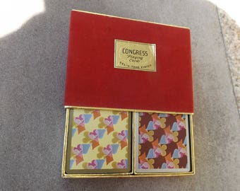 Antique Congress playing cards 2 decks of Collectible vintage Playing cards in box  Full 2 decks with Jokers. Cel-U-Tone Finish.