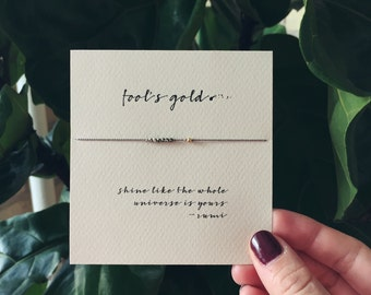 Friendship Bracelet - Fool's gold (pyrite) - Frendship Bracelet on Silk - Walnut