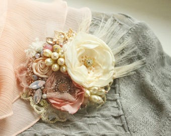 Romantic shabby chic brooch Delicate bead embroidery pin Textile brooch Tattered fabric jewelry Fabric rose pin