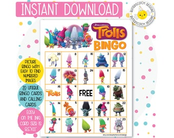 Trolls Printable Bingo Cards (20 Different Cards) - Instant Download