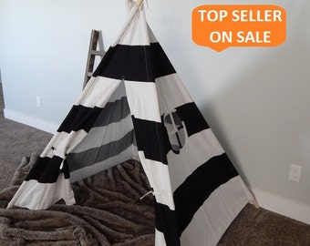 Kids Teepee Play Tent in Large Black and White Stripe