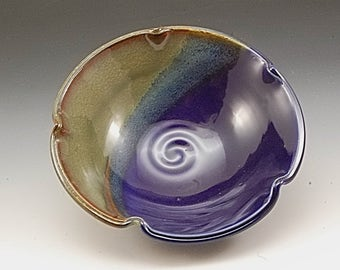 Handmade  Pottery Stoneware Bowl Blue and Brown by Mark Hudak