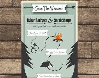 Printable PDF Camping Wedding Save the Date ONLY