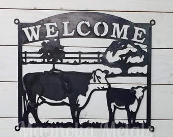 Cattle Scene Welcome Sign - Metal Wall Decor