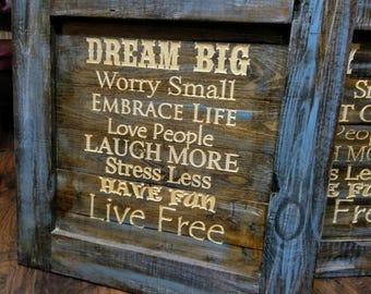 Dream Big wooden sign 24x24