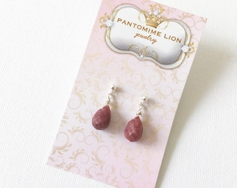 Rhodonite Sterling Silver Stud Earrings