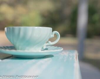 Franciscan Coronado tea cups - Matte Aqua
