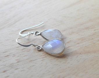 GEMSTONE DROP EARRINGS- Moonstone Earrings- Teardrop Gemstone Earrings in Gold or Silver