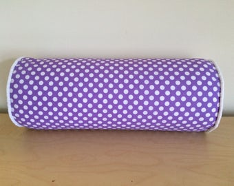 SALE, Polka Dots Bolster Pillow Cover, 6''x16'' Lavender/White Girls Bolster Pillow Cover