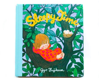 Sleepy Time by Gyo Fujikawa 1975 board book, Vintage Children's Book, Children's Library, Aqua color, Bedtime Book, Vintage book