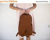 Sale, Unisex Leather Backpack, Leather Laptop Bag, Unisex Rucksack, Satchel Leather Bag, School Bag - Slim Honey Brown Ziggy