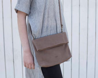 Fold Over Bag / Clutch, Leather Cross Body Bag, Taupe Small Leather Bag, Small Handbag, Shoulder Bag - Small Taupe Camden
