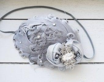 Handcrafted Silver Feather Headband - Fancy Baby Headband - 1920s Headband - Flapper Girl Headpiece - Christmas Gray Headband - Adult