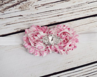 Handcrafted Rhinestone Pink and White Shabby Rose Headband - Heart Headband - Toddler Headband - Baby Girl Bows - Valentines Headband - Bows