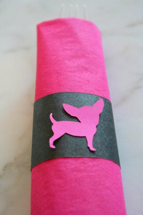 20 Pink Chihuahua Napkin Wraps