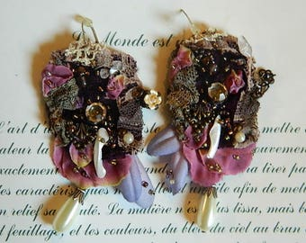 Ornate earrings, beaded,textiles, crystal and pearls, very feminine, dreamy , lacy, velvet