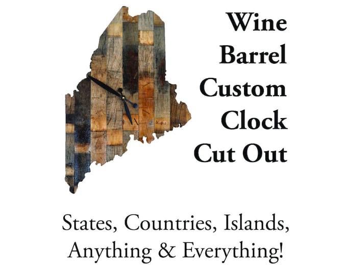 Wine Barrel Custom Clock Cut Out
