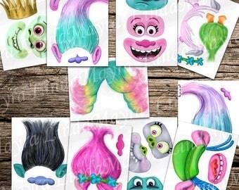 trolls inspired DIY Photo booth Props digital download