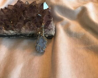 Blue Chalcedony Wire Wrapped Pendant