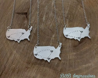 "Hand Stamped ""State of Heart"" United states, Long Distance necklace  HYPOALLERGENIC"