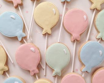 christening gift, childrens party favours, balloon biscuit pops, wedding favours, party bag treats, childrens biscuits, pastel biscuits,