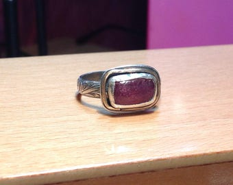 Sterling silver and pink tourmaline organic Ring