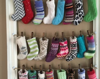 Recycled Advent Calendar made with mini knit stockings