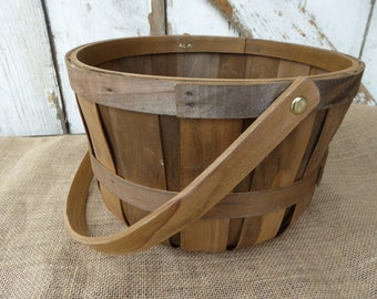 Orchard Split Wood Apple Basket Wood Handle ~ Farmhouse Garden Shabby Chic Rustic Country Decor ~ Fall Colors
